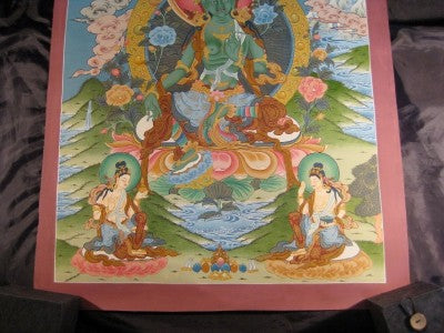 24 K Gold Green Tara Thangka Nepal Himalayan Art