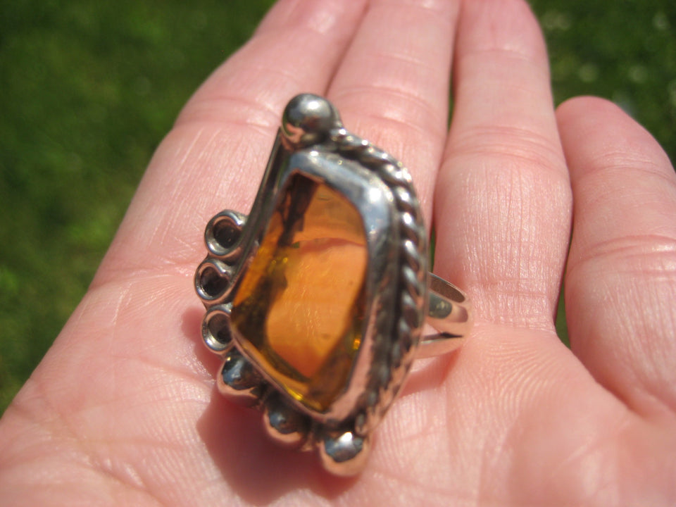 925 Silver Chiapas Amber Ring Taxco Mexico Size 7.5 A2732