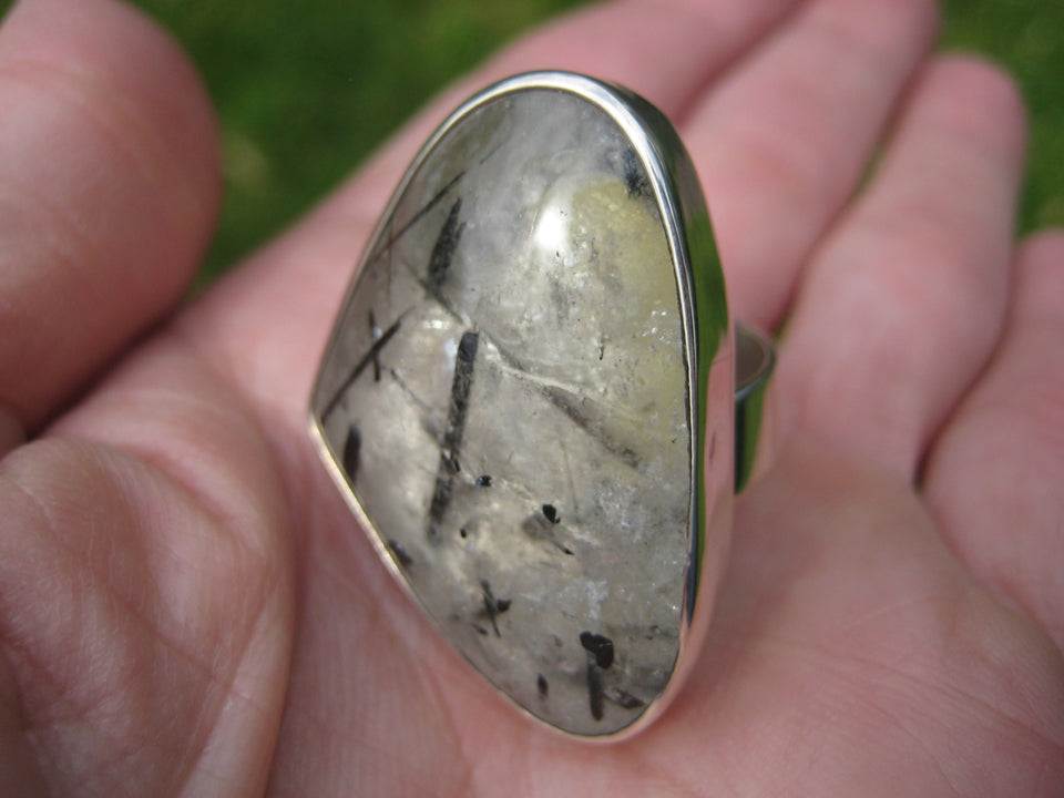 925 Silver Black Rutile Quartz Ring Taxco Mexico Size 7 Adjustable A23544