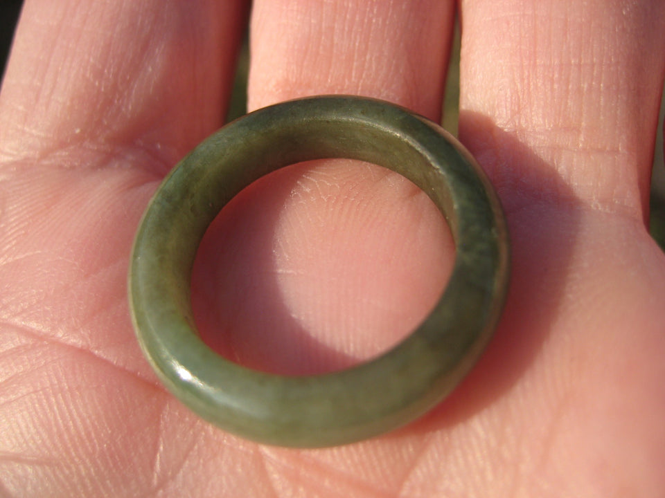 Green Jadeite Jade Ring Myanmar A Size 7.5 US A3644