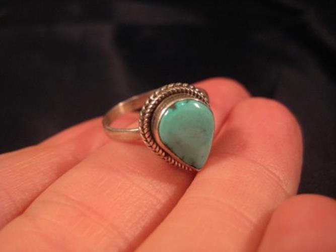 925 Silver Tibetan Turquoise stone Ring Nepal jewelry Size 8 US N2655