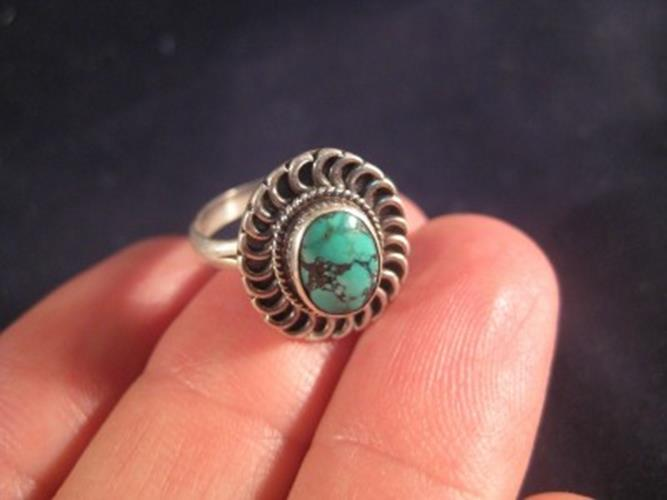 925 Silver Tibetan Turquoise crystal stone Ring Nepal jewelry art Size 5.5 N3966