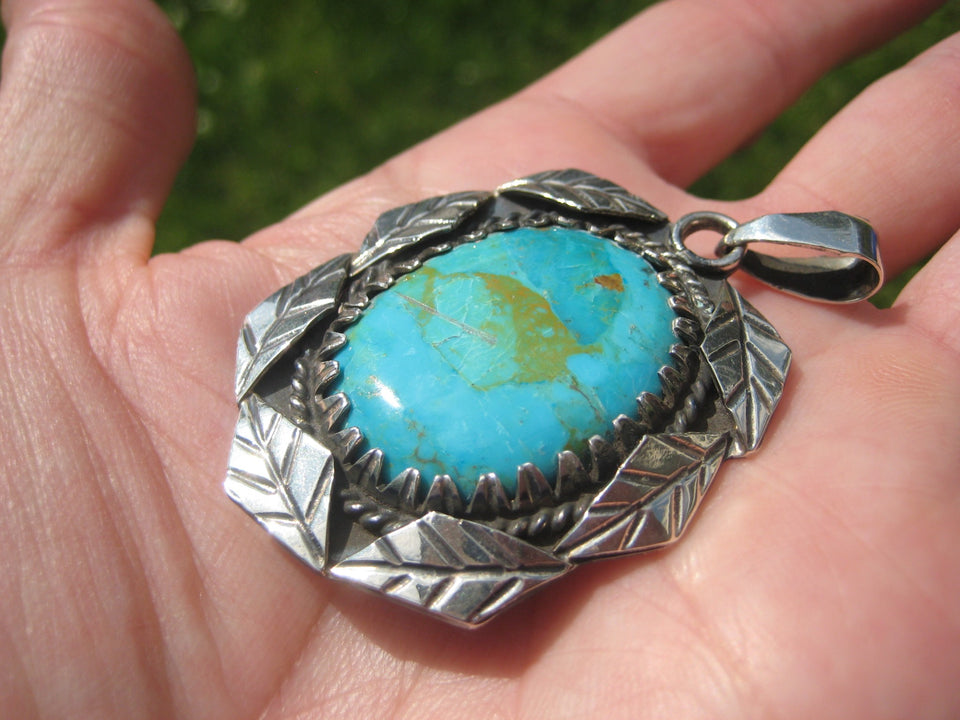 925 Silver Natural Sonora Turquoise Stone Pendant Necklace Taxco Mexico A2844