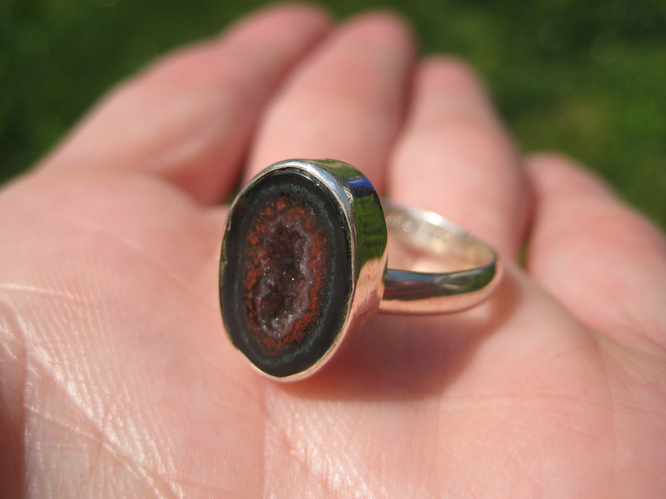 925 Silver Agate Geode Drusy Ring Taxco Mexico Size 7.5 Adjustable A7266
