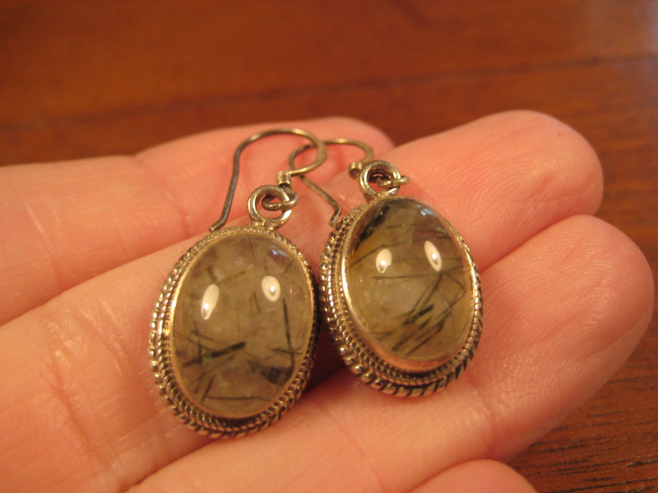 925 Silver  Rutile Quartz Earrings Earring jewelry Nepal himalayan art A765