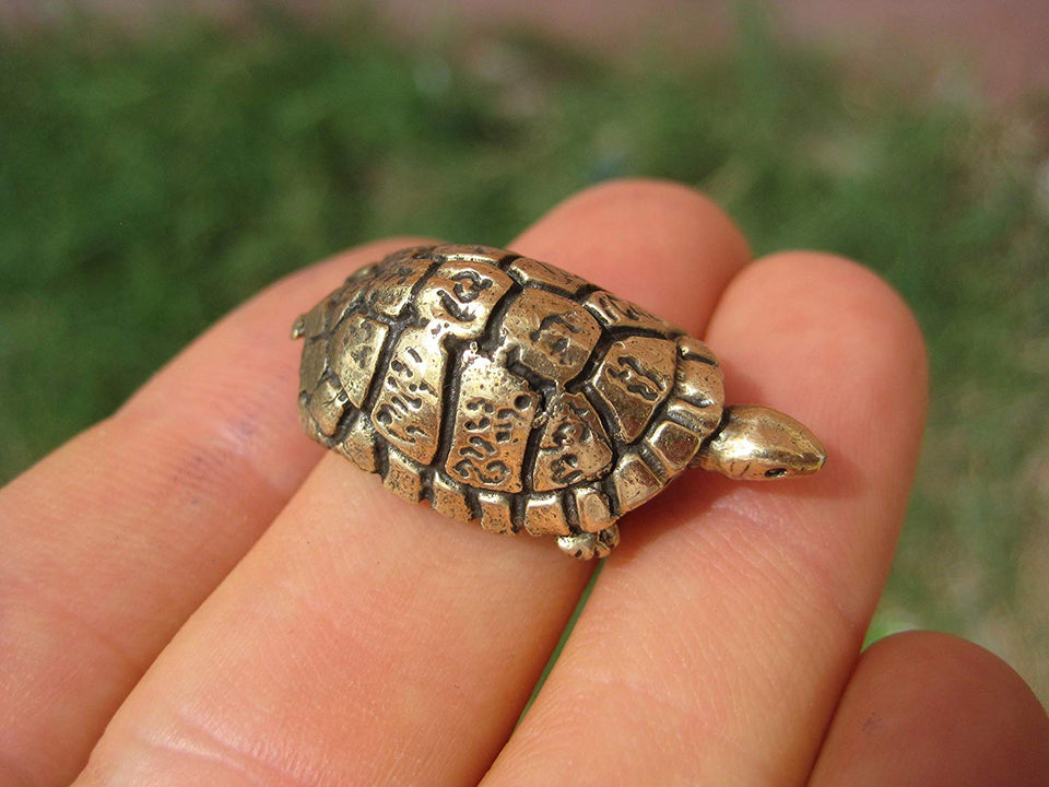 Set 3 Brass Turtle Amulet Statue Good Luck Charm Thailand Buddhist Blessing A4
