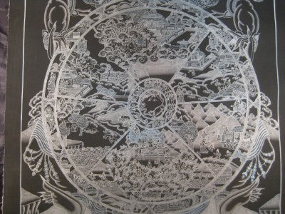 Pure Silver Wheel Of Life Thangka Thanka Painting Nepal Himalayan Art