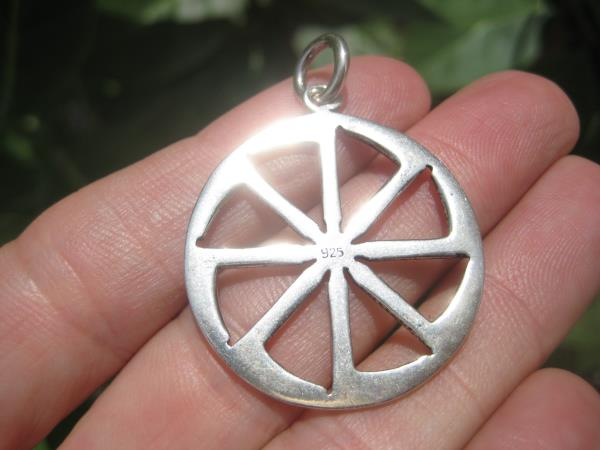925 Silver Black Sun Wheel Sonnenrad Viking Germanic Pendant A8