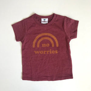 No Worries Tee | Vintage Maroon