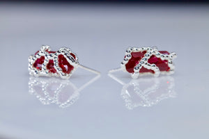 Ruby Blobby Stud Earrings (Pair)