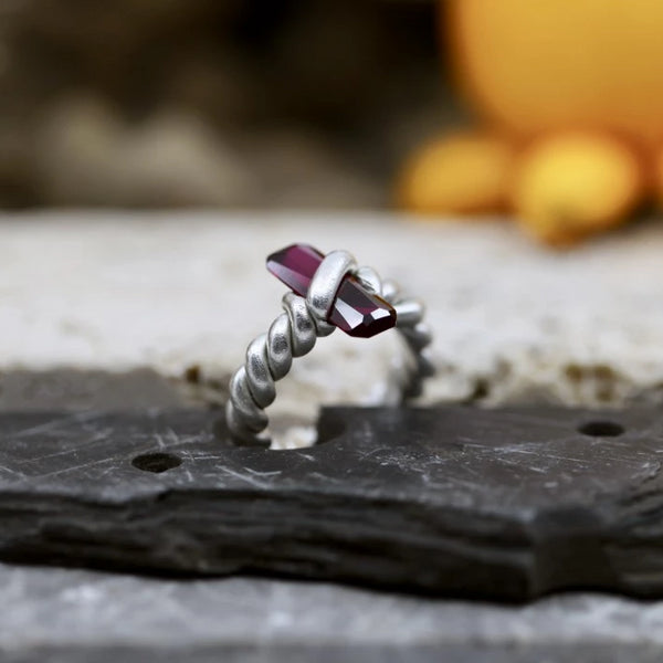 Viking Ruby Twisted Ring
