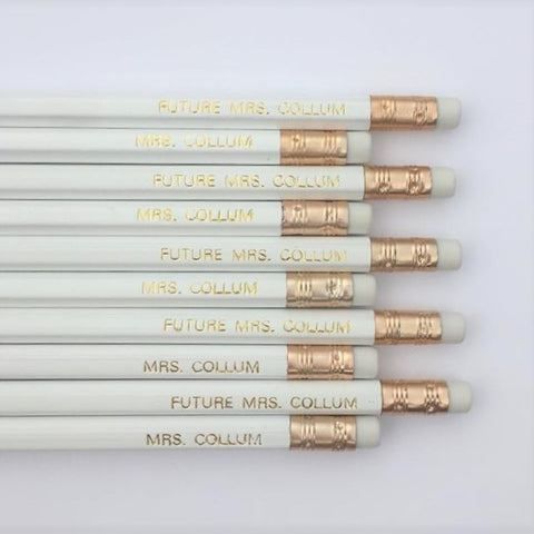 Set of Five Gold Foil Imprinted Personalised Pencils