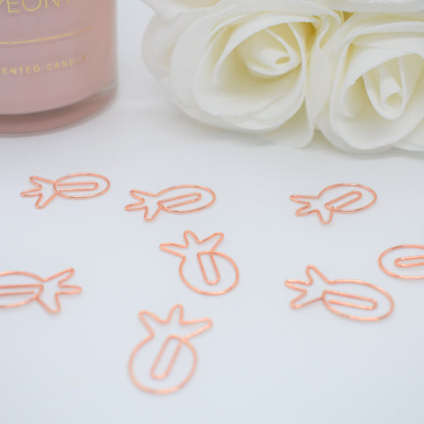 Rose Gold Pineapple Paperclips