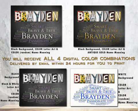 Brayden Name Meaning Gift Idea for Birthday Christmas New Baby