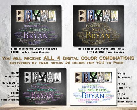 Bryan Boys First Name Meaning Print, Digital
