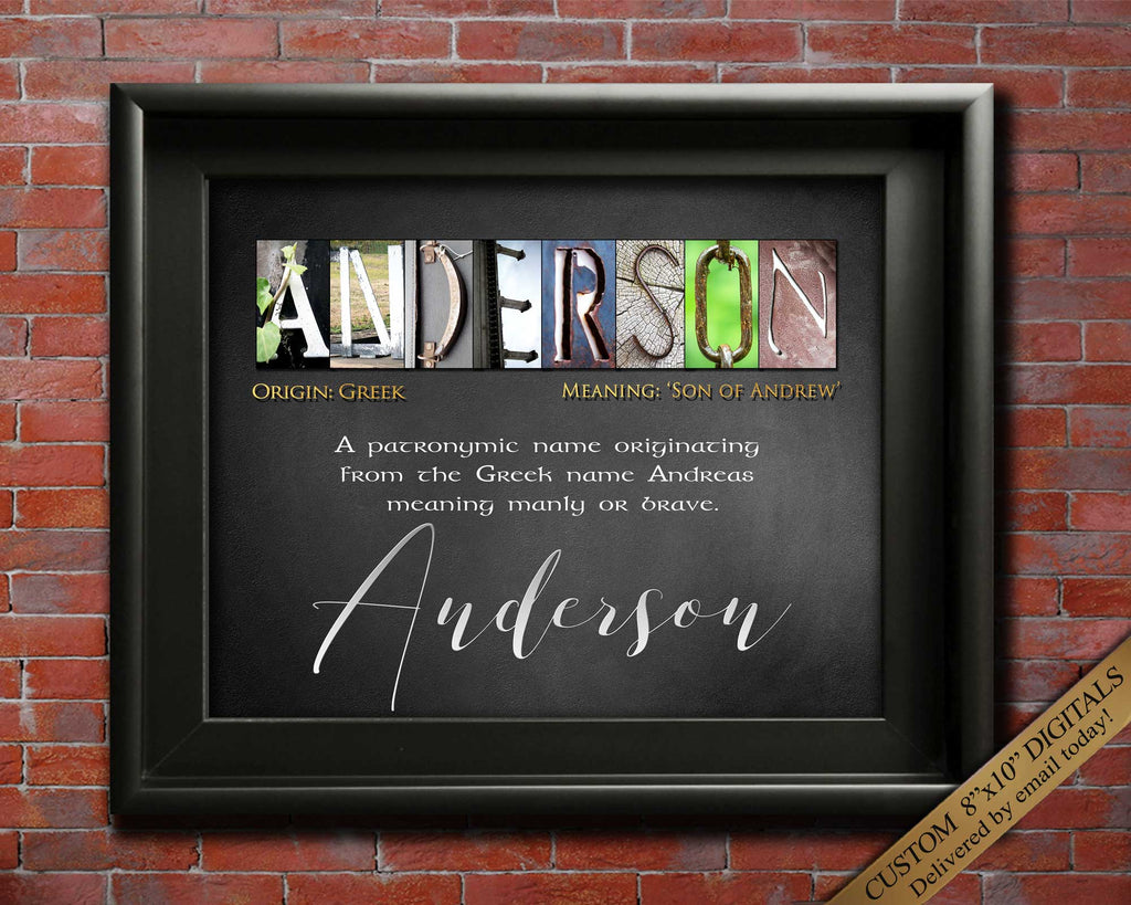 Surname Origin Gift, Surname Meaning, Any Name A-Z, Last Name Origin | Personalized Presents | Name Art Gift | Alphabet Photography DIGITAL