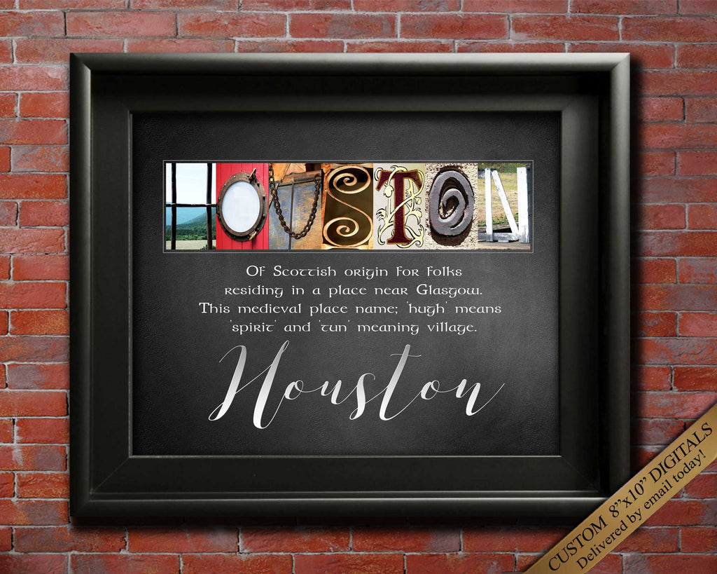 "Last Name Sign - Surname Meaning - Any Name Custom Made 8""x10"" Standard Size Digital Print"