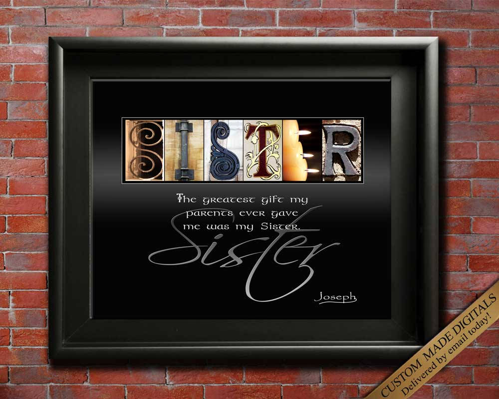 Sister Birthday Gift For Sister Christmas Gift Idea For Sister In Law Letter Art Gifts