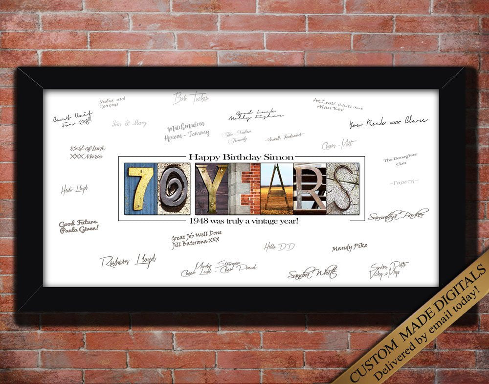 70th Birthday Gift for Men, 70th Birthday Decoration, Moms 70th Birthday Gift for Mom, Dads 70th Birthday Gift for Dad, 70th Birthday Poster