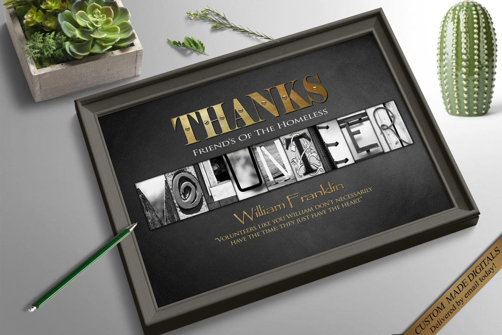 Personalized Thank You Gift For Volunteer Thank You Idea Volunteering Certificate Rustic Thank You Card Printable Thank You Gift Certificate