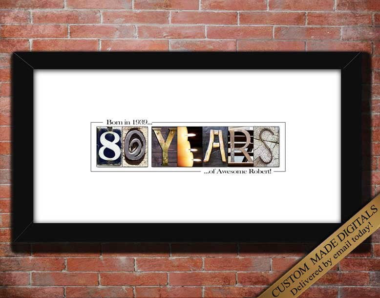 80th Birthday Gift for Man, 80th Birthday Gift for Women, 80th Birthday Decorations, Dads 80th Birthday Gift for Mom, 80th Birthday Poster