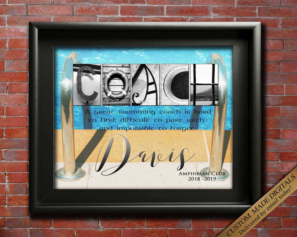 Swim Coach Gift, Swimming Coach, Personalized Swim Coach, Printable Coach Appreciation, Swimming Club, Swim Coach Retirement Gift