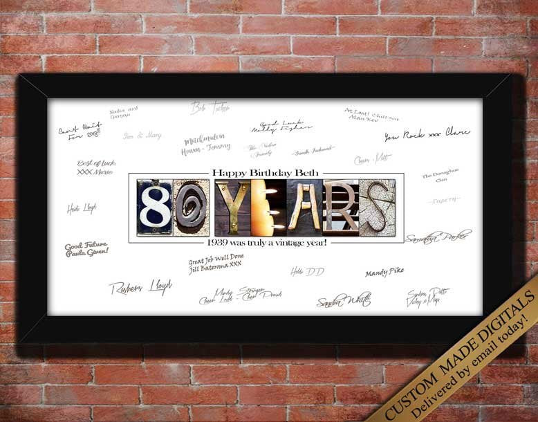 80th Birthday Gift For Man 80th Birthday Gift For Women 80th Birthda Letter Art Gifts