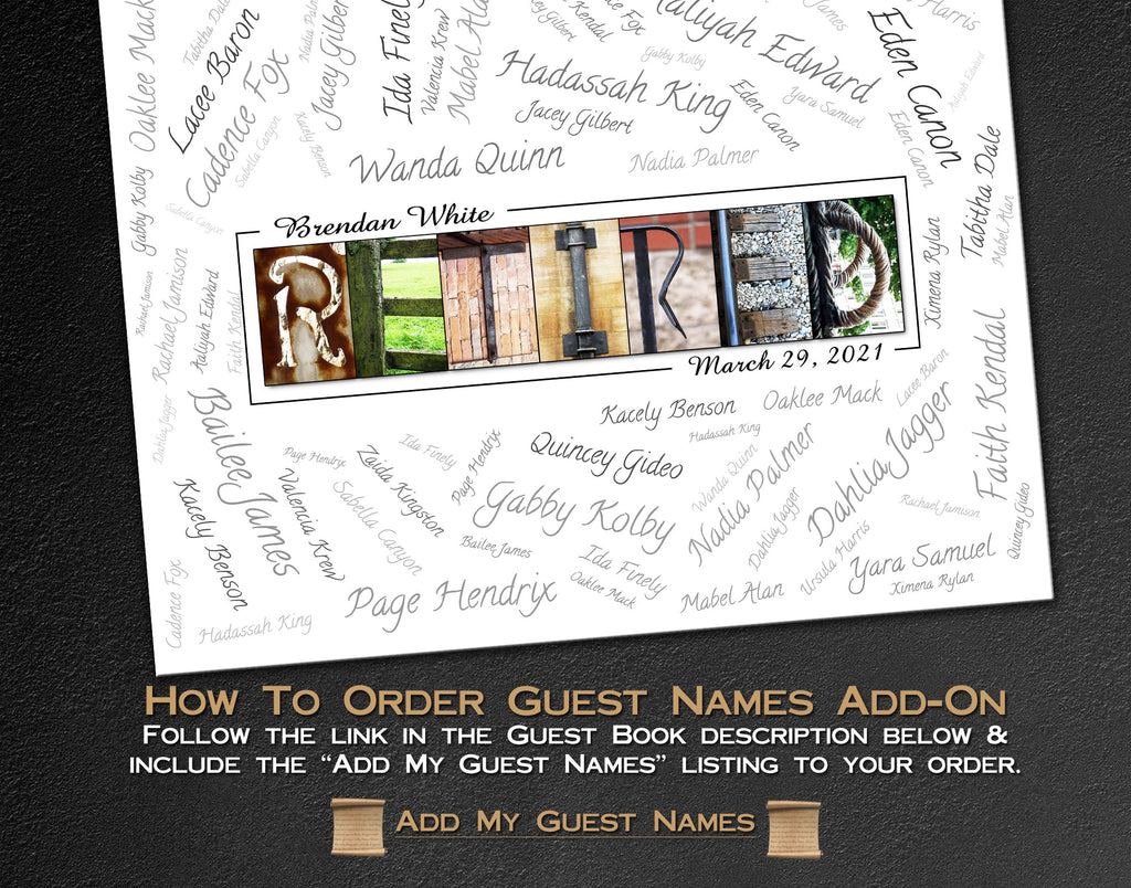 "Add my ""Well Wisher"" Names - Guest Book Service - Let us add the guest names to your digital print with an artistic flourish?"