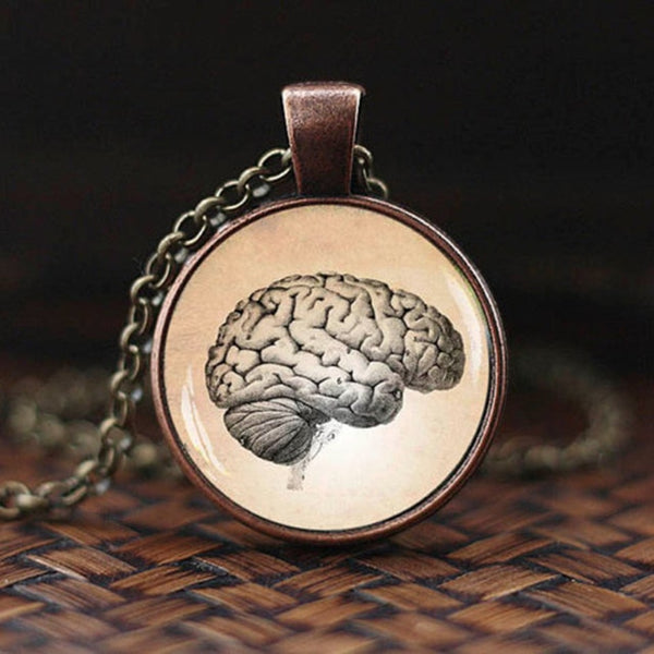 Vintage Brain Pendant Necklace