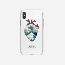 Sarai Llamas - Kanagawa Wave Heart iPhone Case