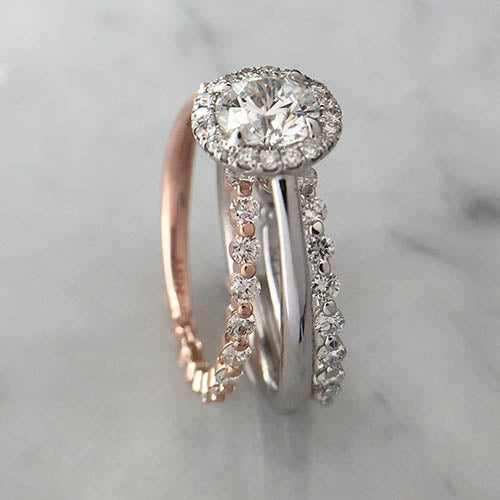 mismatched wedding band with engagement ring