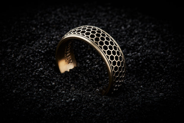 Men's Gold Wedding Band - Honeycomb