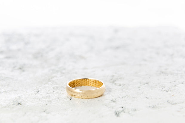 Men's Half Round Wedding Ring with Honeycomb Pattern
