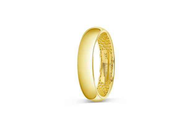 Men's Half Round Wedding Band - Gold 5mm