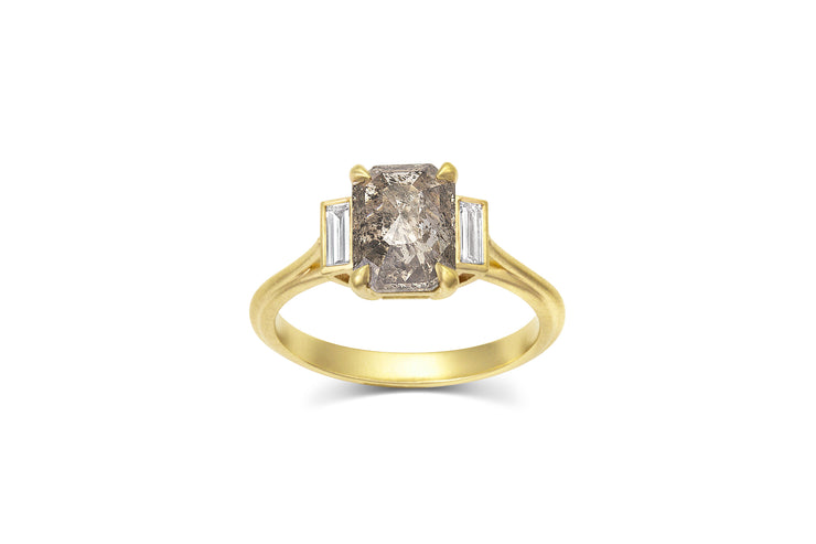 1.82ct Salt and Pepper Diamond Ring