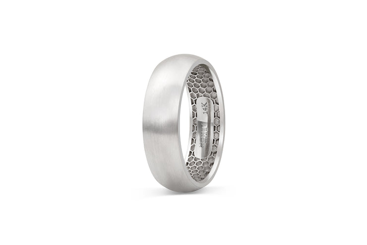 Men's White Gold Half Round Wedding Band