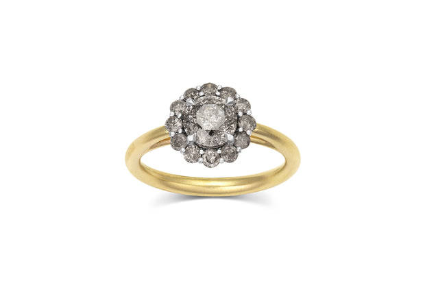 1ct Salt & Pepper Diamond ring with lotus style halo