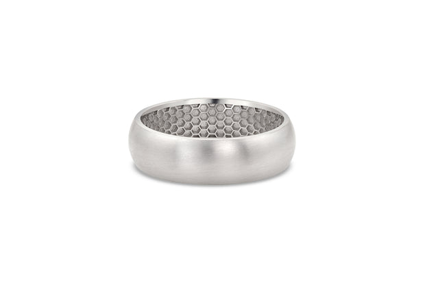 Men's Half Round Wedding Band - 6.5mm White Gold