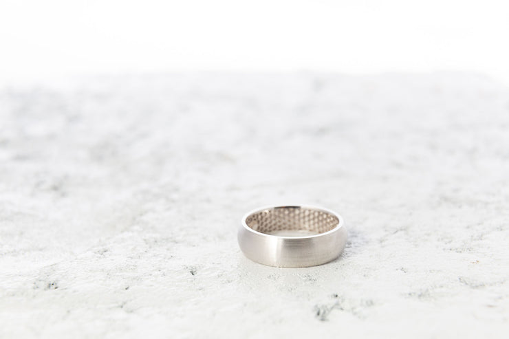 Half Round Wedding Band - Men's White Gold