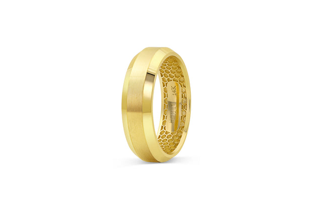 Beveled Edge Yellow Gold Wedding Band for Men