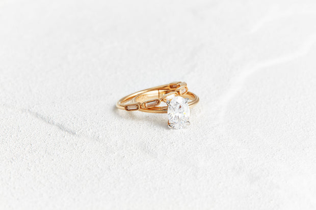 Baguette Diamond Wedding Band in Yellow Gold