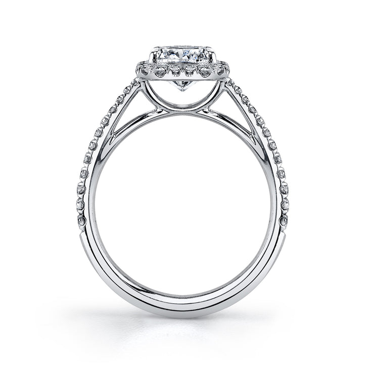 Split Prong Pave Halo Cathedral Engagement Ring in White Gold