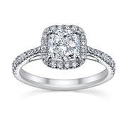 Split Prong Halo Engagement Ring