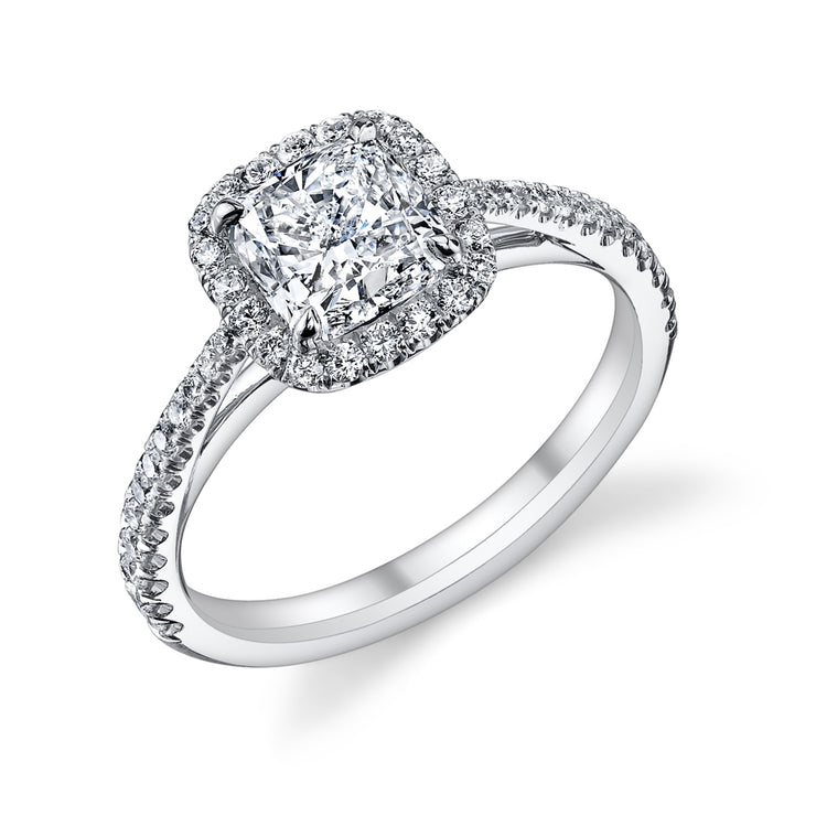 Split Prong Halo Pave Engagement Ring in White Gold