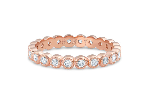 Bezel Set Diamond Wedding Band in Rose Gold
