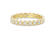 Bezel Set Milgrain Diamond Wedding Band in Yellow Gold