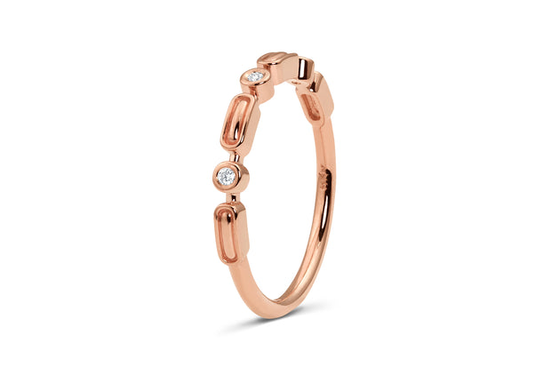 Art Deco Wedding Band in Rose Gold