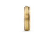 Men's Gold Striped Wedding Band - 6.5mm