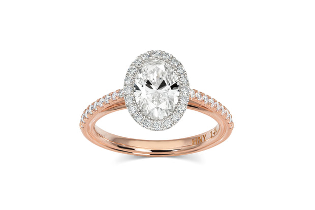 Oval Halo Cathedral Pave Engagement Ring