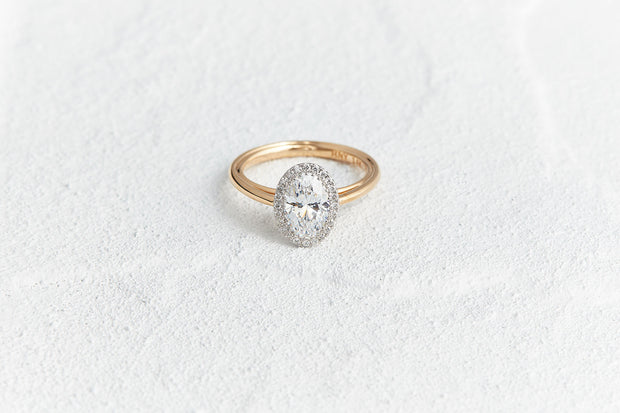 Halo Round Cut Cathedral Engagement Ring